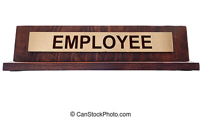 Employee name plate - Wooden nameplate with Employee text,...