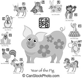Chinese New Year Pig with Twelve Zodiacs Illustration -...