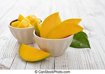 Ripe fresh mango  slices in bowl on wooden white background