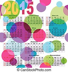 Calendar with bright colored balls - Calendar with bright...