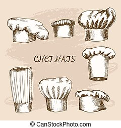 Chef hats. Set of hand drawn illustrations