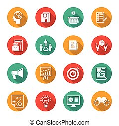 Marketers Flat Icons Set - Marketer flat icons set with...