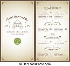 Restaurant menu template - Elegant restaurant menu list with...