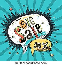 Sale speech bubble - Big sale sketch advertising speech...