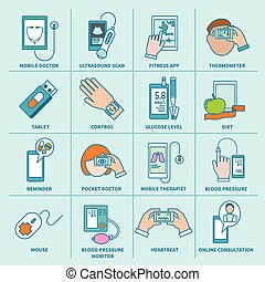 Digital health icons set flat line - Digital health icons...