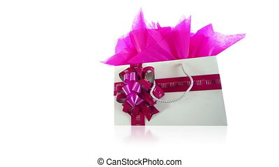 Pink Gift Bag Dolly Isolated on Whi