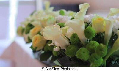 beautiful weddings bouquets on a table in rasfokusirovke