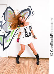 Cool hip-hop dancer - Cool female redhair hip-hop dancer at...