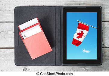 Online gambling in Canada concept with a tablet