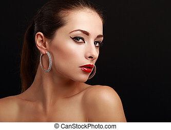 Sexy beautiful makeup woman face looking on black - Sexy...