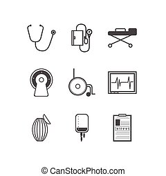 Black vector icons for resuscitation - Set of black...