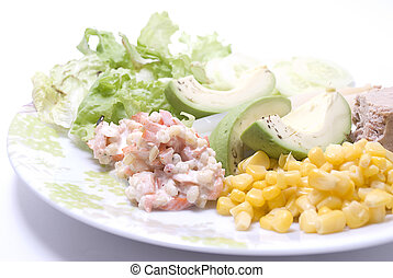 Healthy vegetables plate - PIcture of a plate with salad,...