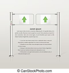 Vector illustration of double turnstile with green arrows -...