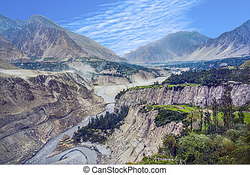 karakoram highway in the valley at Karimabad in Pakistan
