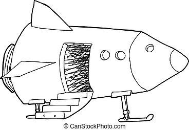 Open Door in Spaceship - Cartoon outline of open door and...