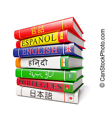 Stack of dictionaries isolated - Foreign world languages...