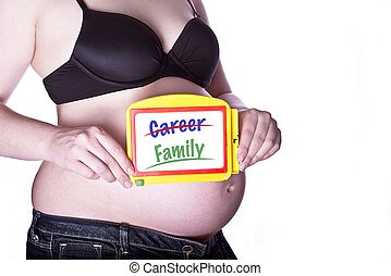 Pregnant Sign Family - pregnant woman clothed in black bra...