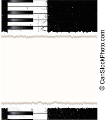 Piano Poster - Black and white piano keys with a grunge jazz...