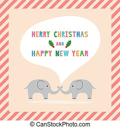 MC and HNY greeting card11 - Elephants card for Merry...