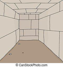 Empty Dungeon Room - Empty cartoon room with dirt floor...