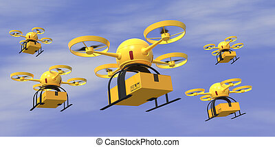flying drones - Some flying drones carrying a carton box...