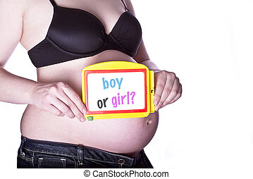 Pregnant Sign Boy or girl - pregnant woman clothed in black...