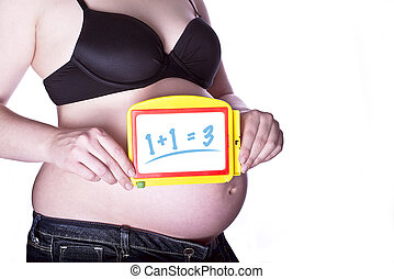 Pregnant Sign Math - pregnant woman clothed in black bra and...
