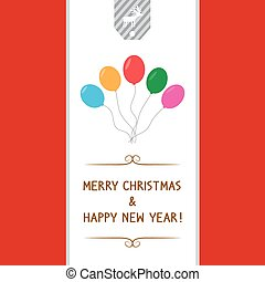 MC and HNY greeting card7 - Balloons card for Merry...