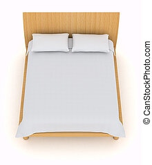 double bed - top view of a double bed with white pillows and...