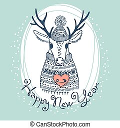Hand drawn vector illustration with cute deer Happy New Year...