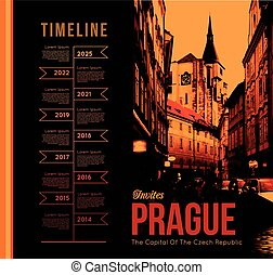 Prague city - City of Prague. Vector illustration with the...