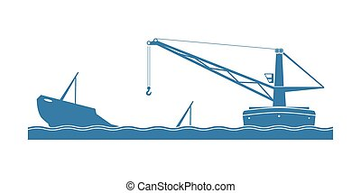 Salvaging a sunken ship. Crane on floating barge with...