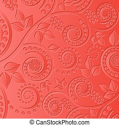 red background with floral ornaments