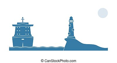 Industrial ship and lighthouse in the sea Vector...