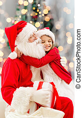 smiling little girl with santa claus - holidays,...