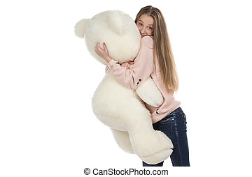 Photo of teenage girl hugging teddy bear - Photo of girl...