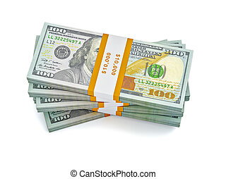 Stack of new 100 US dollars banknotes