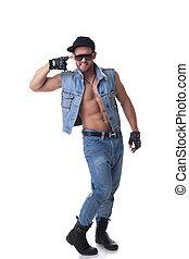 Denim, muskulös, glad, Framställ, passa, modell, manlig