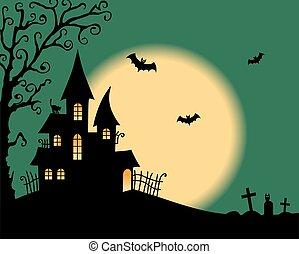 Halloween vector card with creepy castle
