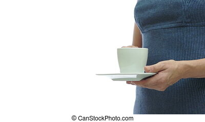 Woman Dress Coffee With Copyspace - An anonymous woman in a...