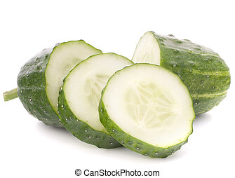 Sliced cucumber vegetable isolated on white background...