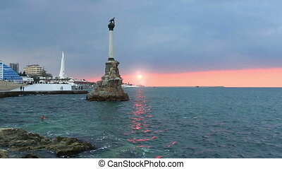 Monument to the flooded ships in Sevastopol, the Crimea