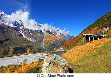 Picturesque alpine road Grossglocknershtrasse Bright sunny...