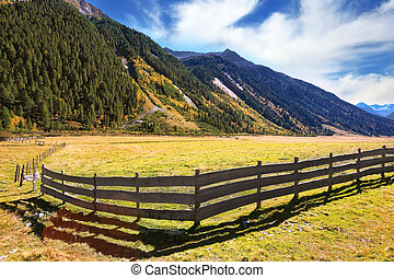 Farmers low wooden fences - The beautiful autumn day in the...