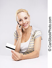 Blond Woman Credit Card Shopping