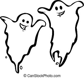Pair of Ghosts - A Pair of fun Halloween Night Ghosts