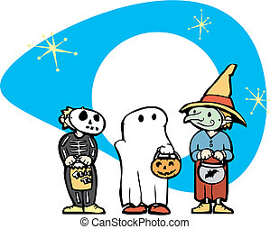 Halloween Kids 2 - Three in dressed up in Costumes for...