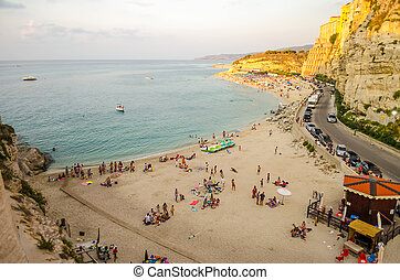 Panorama over Tropea Coastline at sunset