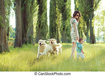 Child playing with mom and dogs - Child playing with mom and...