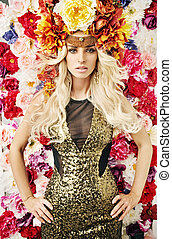 Excelent portrait of the woman with flower hat